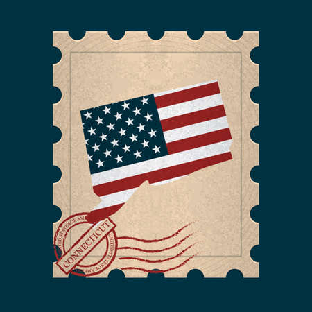 postage stamp: Connecticut sello de correos