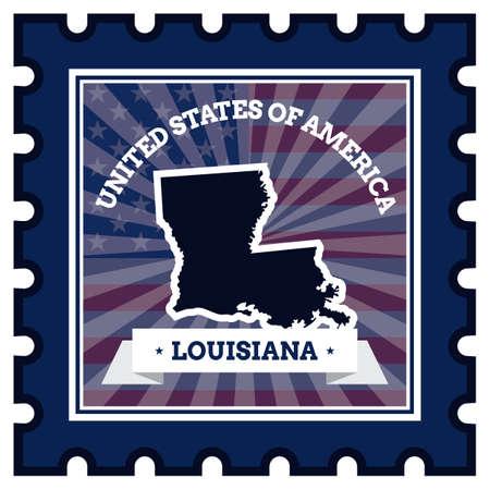 postage stamp: Louisiana sello de correos