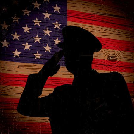 saluting: Policeman saluting american flag Illustration