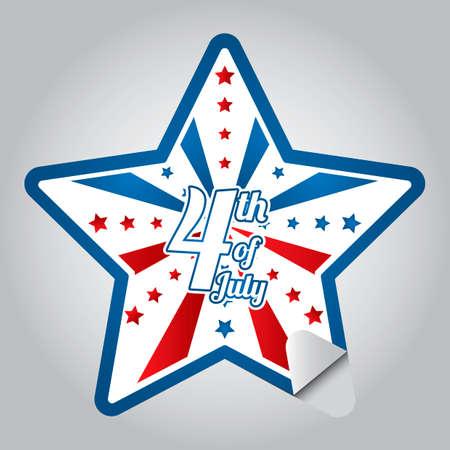 fourth of july: Fourth of july sticker Illustration
