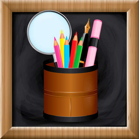 pen holder: Pen holder on blackboard