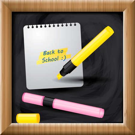 scribbling: Paper note and marker pens on blackboard Illustration