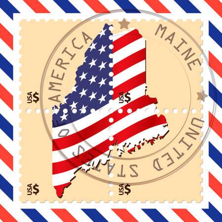 maine: Maine stamp