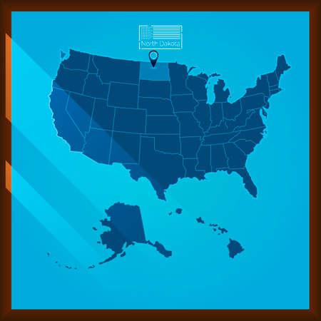 bordered: Navigation pointer indicating north dakola state on US map Illustration