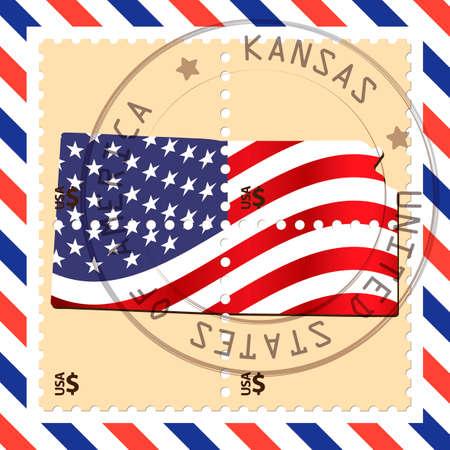 KANSAS: Kansas stamp Illustration