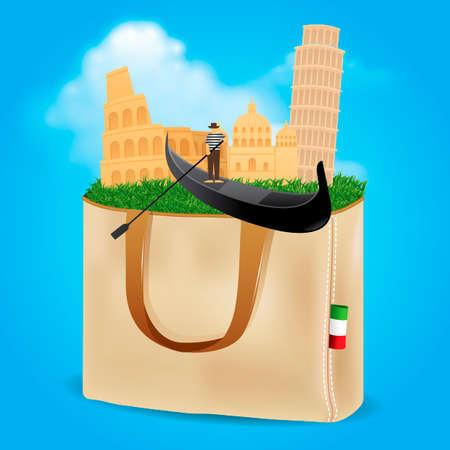 tourist attraction: Italy famous landmarks design Illustration