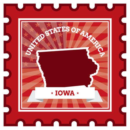 sello postal: Iowa sello de correos Vectores