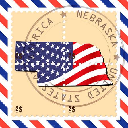 nebraska: Nebraska stamp Illustration