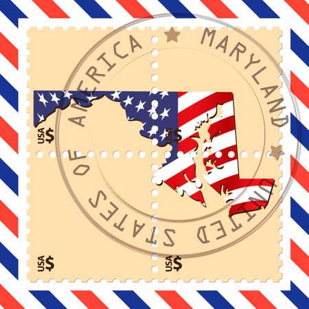 maryland: Maryland stamp Illustration