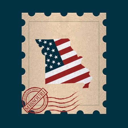 postage: Missouri postage stamp Illustration