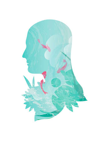 double exposure: Double exposure of man and ocean Illustration