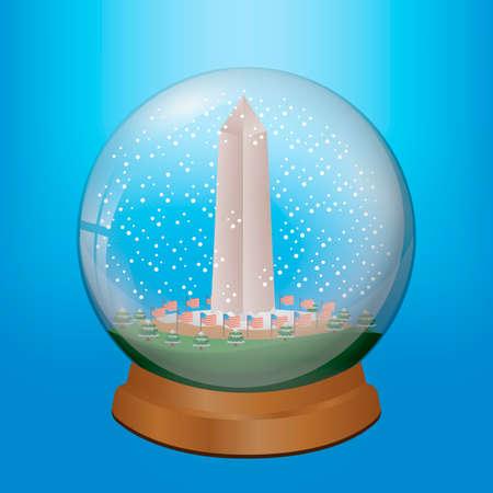 washington monument: Washington monument in crystal ball Illustration