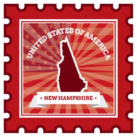 sello postal: Nueva Hampshire sello de correos Vectores