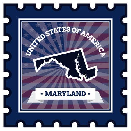 sello postal: Maryland sello de correos Vectores