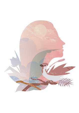 Double exposure of woman and nature