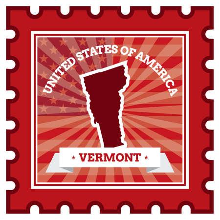 sello postal: Vermont sello de correos Vectores