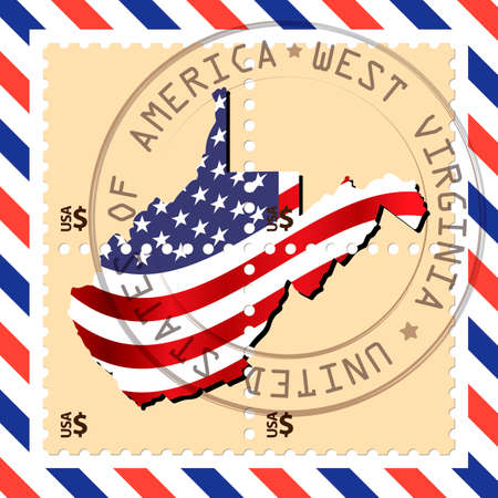west virginia: West Virginia stamp Illustration