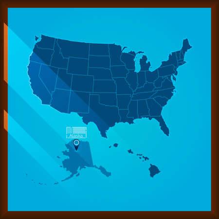 bordered: Navigation pointer indicating alaska state on US map Illustration