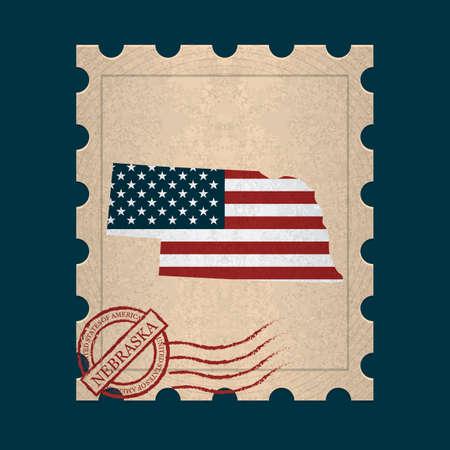 sello postal: Sello de correos de Nebraska Vectores