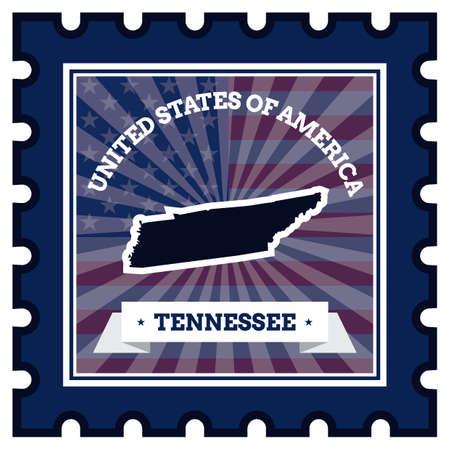 postage: Tennessee postage stamp Illustration