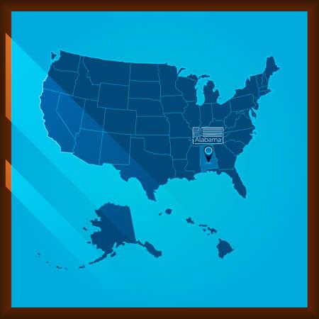 alabama state: Navigation pointer indicating alabama state on US map