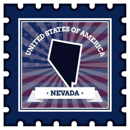 postage stamp: Nevada postage stamp Illustration