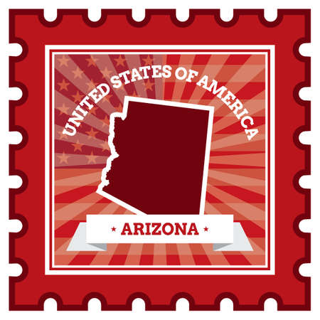 postage stamp: Arizona sello de correos Vectores