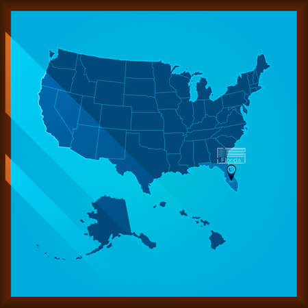 bordered: Navigation pointer indicating florida state on US map