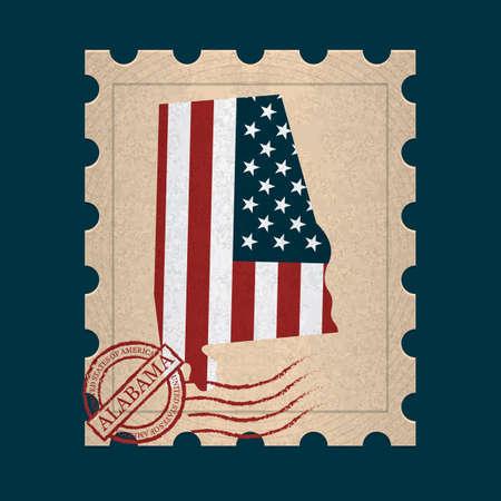 postage stamp: Alabama sello de correos Vectores