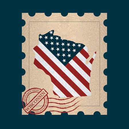 postage: Wisconsin postage stamp