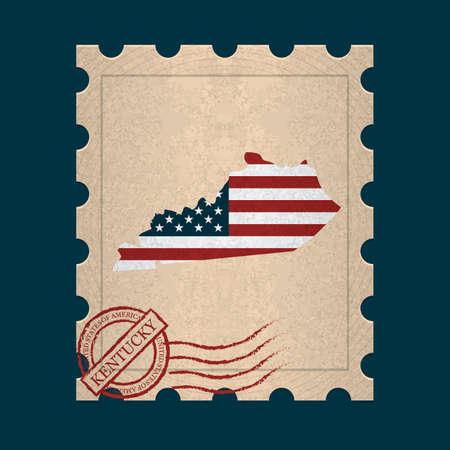 kentucky: Kentucky postage stamp Illustration