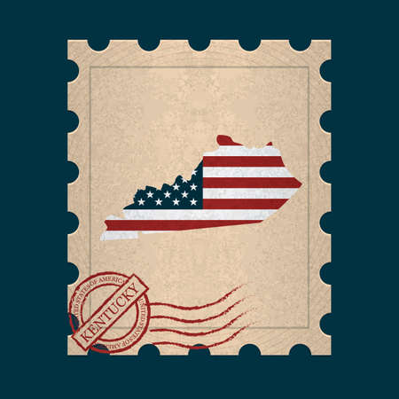 postage stamp: Kentucky postage stamp Illustration