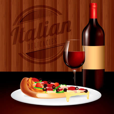 italian tradition: Pizza and wine served