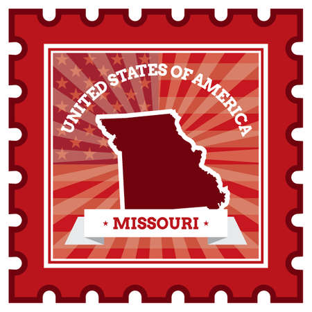 missouri: Missouri postage stamp Illustration