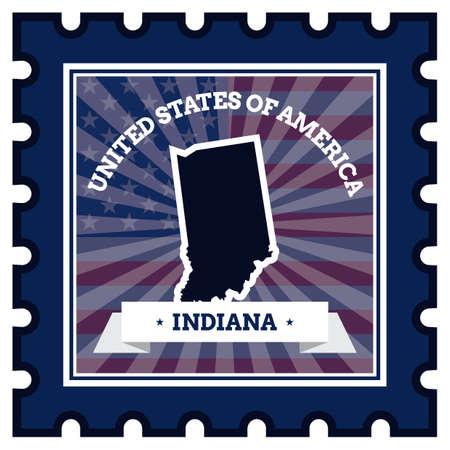 sello postal: Indiana sello de correos Vectores