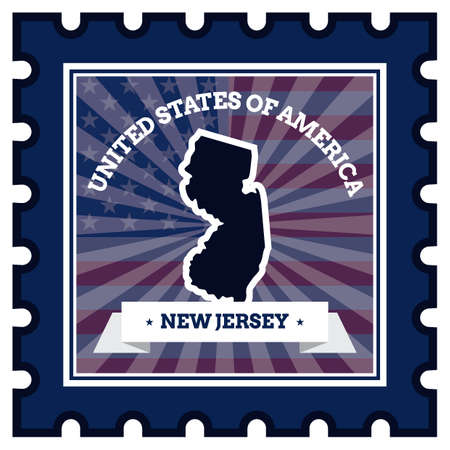 new jersey: New Jersey postage stamp Illustration