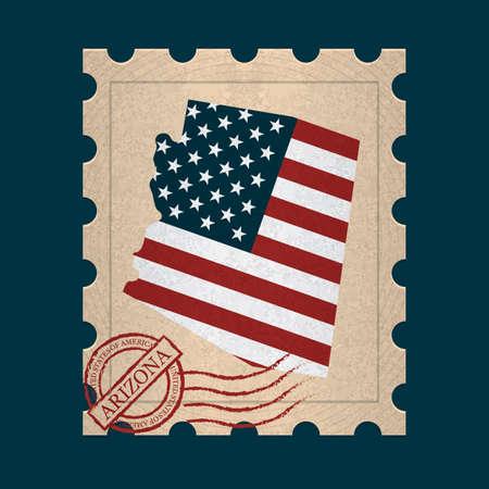 sello postal: Arizona sello de correos Vectores