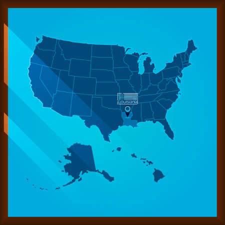 louisiana: Navigation pointer indicating louisiana state on US map Illustration