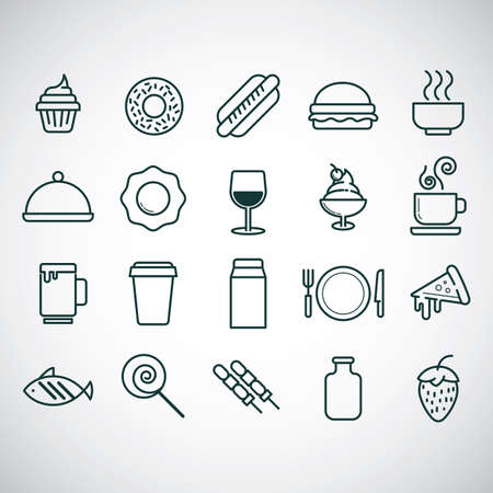 basic candy: Food and beverage icon set