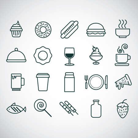 Generi alimentari e bevande icon set