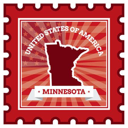 minnesota: Minnesota postage stamp Illustration