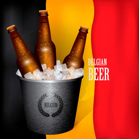 beer bucket: Beer bottles in an ice bucket Illustration