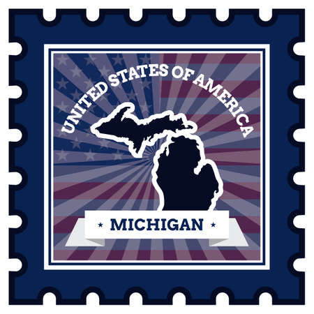 postage stamp: Michigan postage stamp