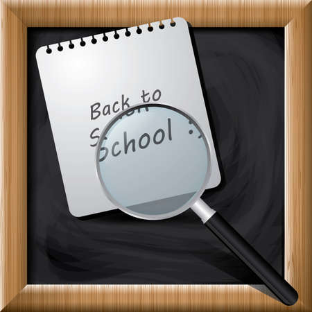 paper note: Paper note and magnifier on blackboard Illustration