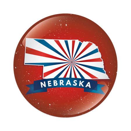 nebraska: Nebraska map button Illustration