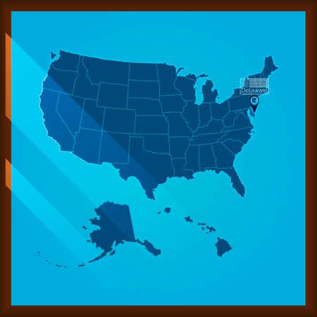 bordered: Navigation pointer indicating delaware state on US map Illustration
