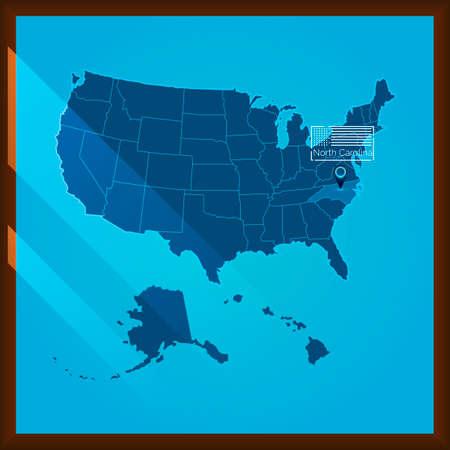 bordered: Navigation pointer indicating north carolina state on US map