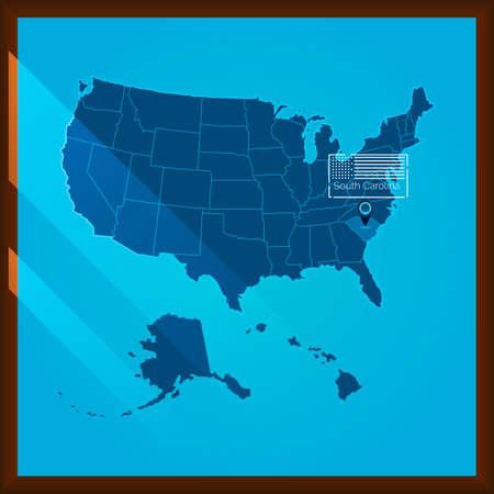 south carolina: Navigation pointer indicating south carolina state on US map