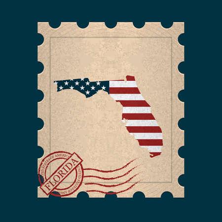 postage: Florida postage stamp Illustration