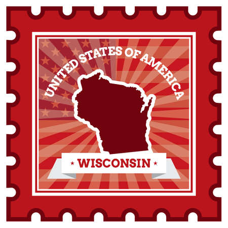 postage stamp: Wisconsin postage stamp